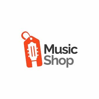 Concetto di design del logo del negozio di musica