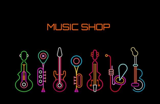Insegna al neon di music shop