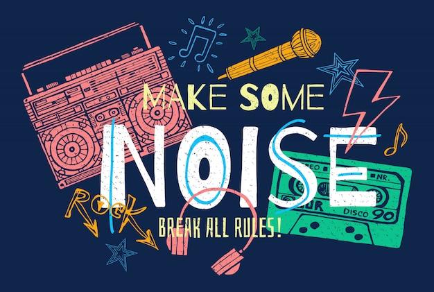 Grafica di slogan musicali per stampe retrò di poster di design t-shirt.