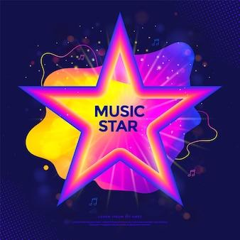 Banner di music star o poster per feste con etichetta di programma televisivo in forma liquida colorata con stelle sfumate