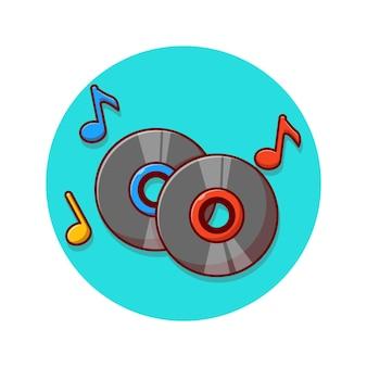 Progettazione dell'illustrazione di vettore del disco fonografico di supporti di memorizzazione di musica