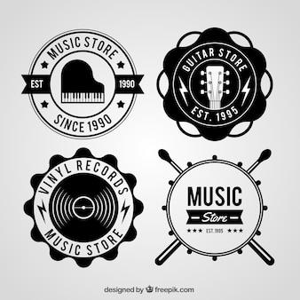 Collezione logo negozio di musica con stile vintage