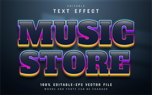 Testo del negozio di musica, effetto testo in stile neon