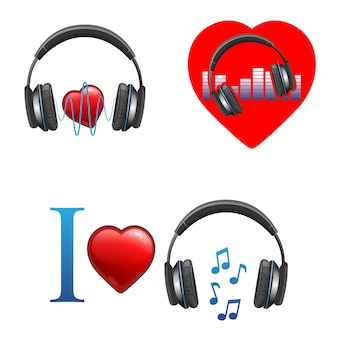 Emblemi promozionali a tema musicale con cuffie, onde sonore, note musicali e cuori rossi lucidi. insieme realistico isolato logo della canzone preferita. Vettore Premium