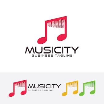 Modello di logo della città di musica città Vettore Premium