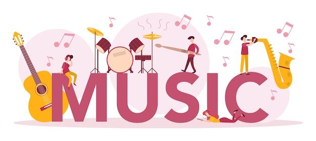 Insieme di concetto di intestazione tipografica di musica. giovane interprete che suona musica con attrezzature professionali. musicista di talento che suona strumenti musicali. .