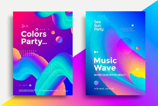 Manifesto della festa dell'onda di musica e dei colori. volantino notturno del club. sfondi astratti di forme fluide di gradienti per copertina, brochure.