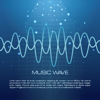 Onda musicale infografica su sfondo blu