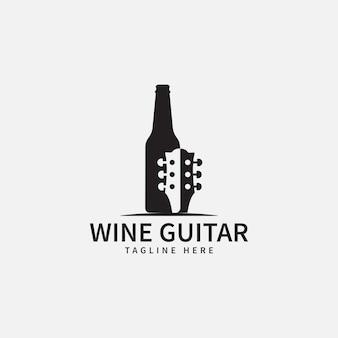 Modello di progettazione del logo di musica e vino illustrazione vettoriale dell'icona della bottiglia di vino e dell'icona della chitarra concept