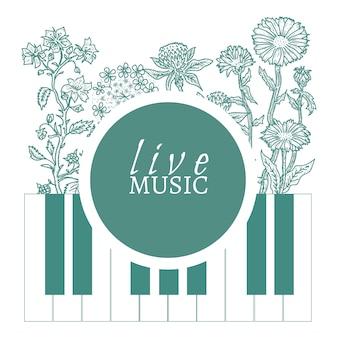 Schizzo d'annata disegnato a mano del modello di copertura di musica dal vivo musicale del caffè