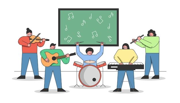 Concetto di educazione musicale. le persone stanno imparando a suonare diversi strumenti musicali.
