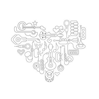 Musical art line art design