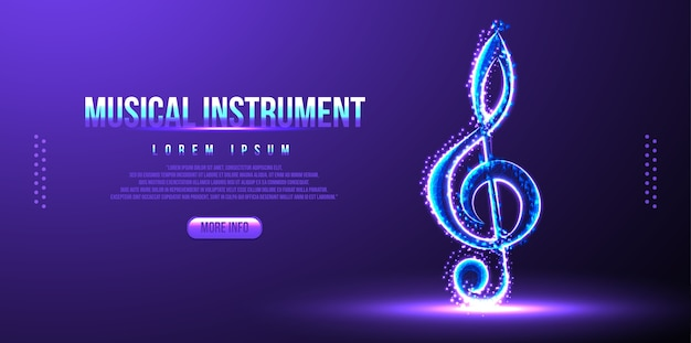 Strumento musicale nota low poly wireframe