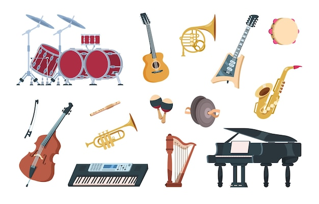 Strumenti musicali. attrezzature vintage acustiche, elettriche e a percussione per concerti e feste di musica. illustrazione vettoriale di strumenti musicali jazz, folk e set tradizionale