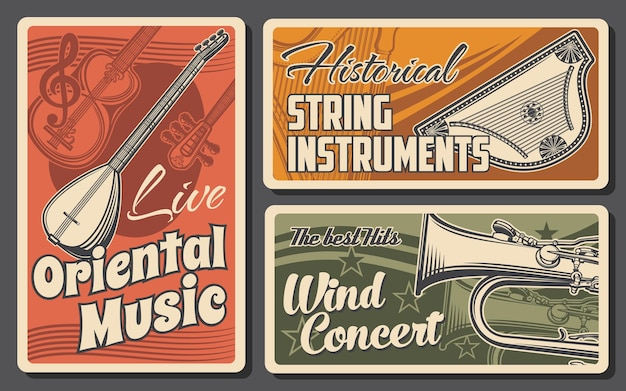 Strumenti musicali di design retrò di musica classica, etnica e orientale. tubo, saz, tanbur e tar, arpa e cimbalom, corde e strumenti musicali a fiato