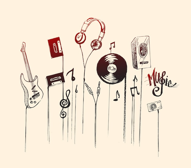 Illustrazione vettoriale di schizzo disegnato a mano di strumenti musicali