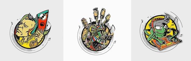 Strumenti musicali a forma di cuore sfondo illustrazione vettoriale design Vettore Premium