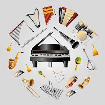 Set di strumenti musicali di vento, percussioni e illustrazione della tastiera dettagliata