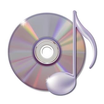 Nota musicale e disco cd - icona della musica.