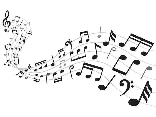 Sfondo di note musicali. foglio di notazione musicale, melodia del suono e illustrazione di simboli di nota