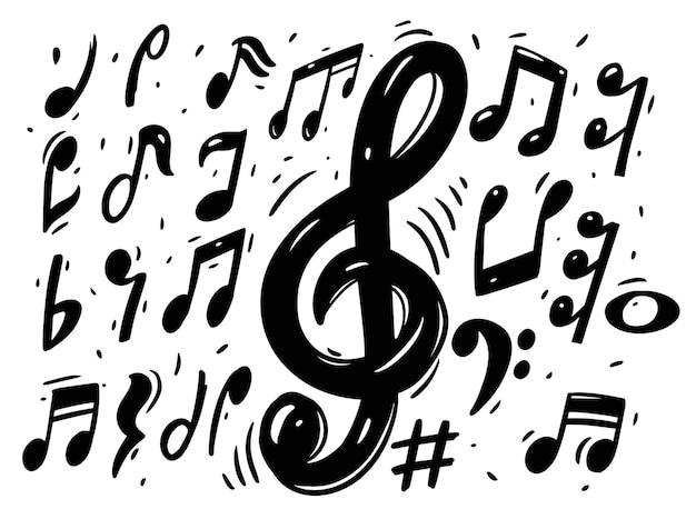 Insieme di raccolta di doodle di note musicali.
