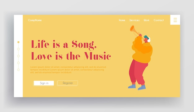 Pagina di destinazione del sito web di spettacoli musicali o concerti.
