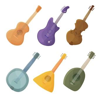 Strumenti musicali a corda in stile cartone animato chitarra, violino, balalaika, liuto - vettore