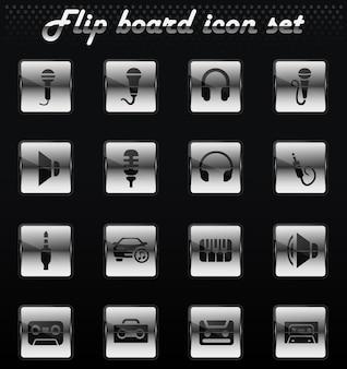 Icone meccaniche flip vettoriali musicali per il design dell'interfaccia utente