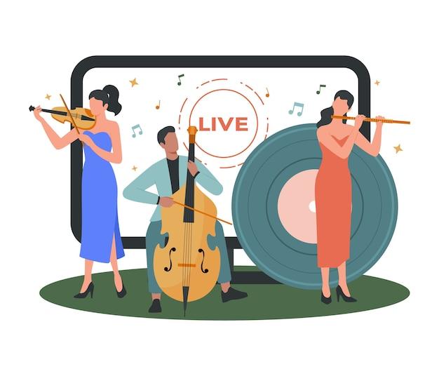 Musicista o artista che fa l'illustrazione in linea di spettacolo