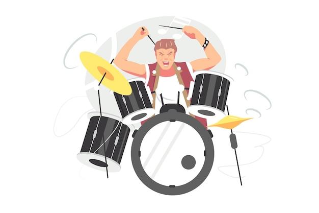 Ragazzo musicista suonare il tamburo illustrazione vettoriale. battere i piatti con le bacchette, suonare con passione in stile piatto. rock, musica, concetto di concerto dal vivo. isolato su sfondo bianco