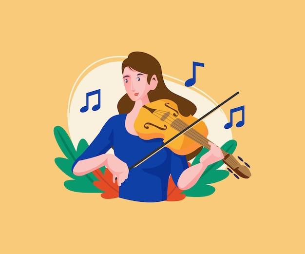 Musicista che esegue suonare uno strumento chitarra violino