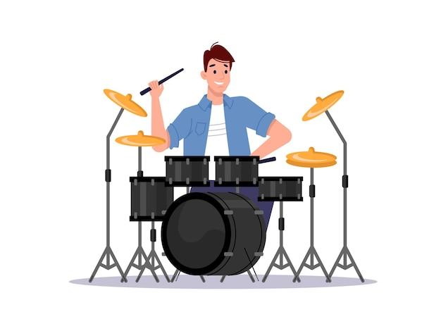 Musicista che suona la batteria strumento a percussione isolato e giocatore