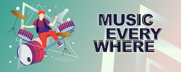 Musicista con banner di strumento musicale