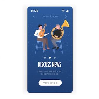 Coppia di musicisti che suonano strumenti musicali che parlano di notizie quotidiane chat bolla concetto di comunicazione smartphone schermo modello di app mobile