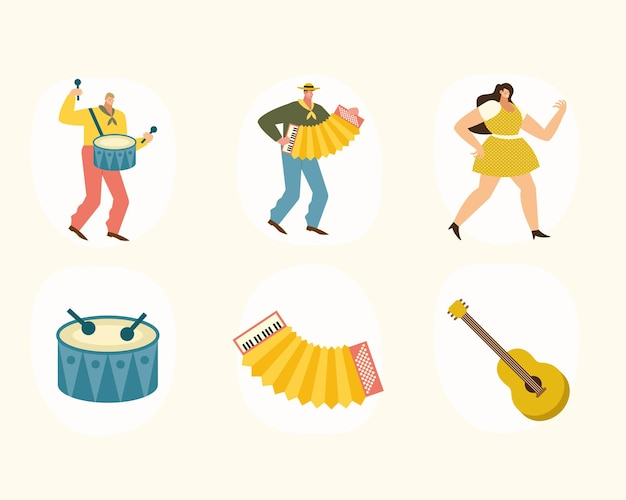 Musicisti e strumenti sei icone illustrazione
