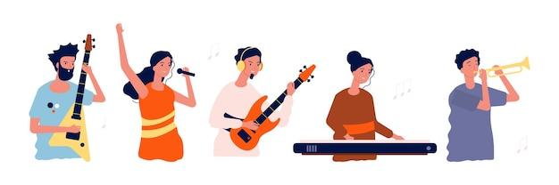 Musicisti e cantanti. persone con strumenti musicali.