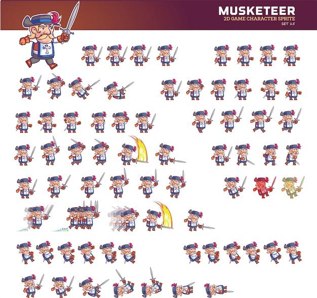 Sprite di animazione del personaggio dei cartoni animati del moschettiere