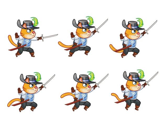 Moschettiere cat sword man sprite
