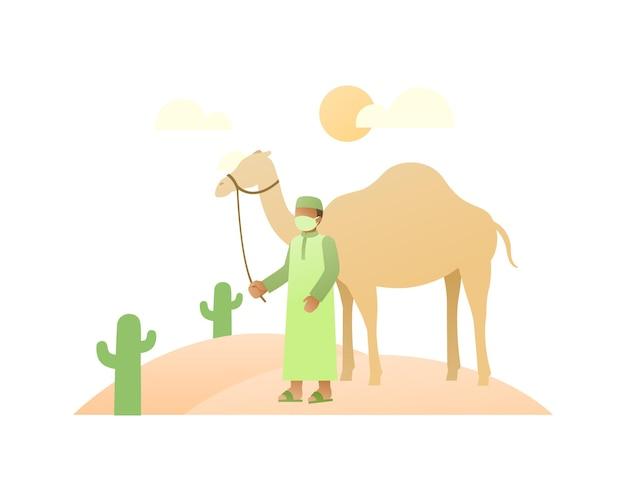 Uomo arabo musulmano che cammina con i cammelli nel mezzo del deserto