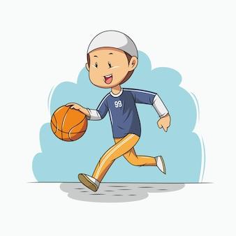 Ragazzo musulmano che gioca a basket