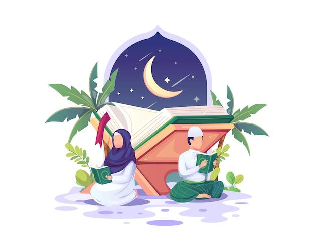 Coppia musulmana che legge e studia il corano durante l'illustrazione del mese sacro di ramadan kareem Vettore Premium
