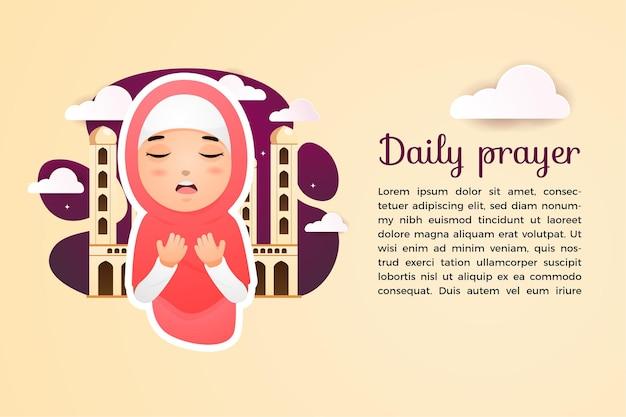Vettore musulmano del modello di preghiera quotidiana con l'illustrazione sveglia del carattere della ragazza di hijab