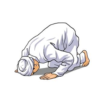Musulmano che fa salah salat shalat sholaat vector illustration