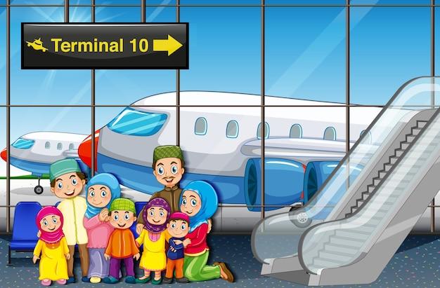Famiglia musulmana all'aeroporto