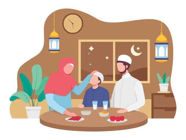 Famiglia musulmana che mangia l'iftar del ramadan insieme. illustrazione in uno stile piatto