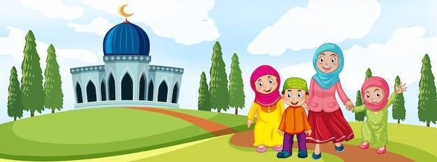 Famiglia musulmana davanti alla moschea