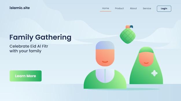 Riunione di famiglia musulmana per l'atterraggio del modello di sito web o il design della homepage