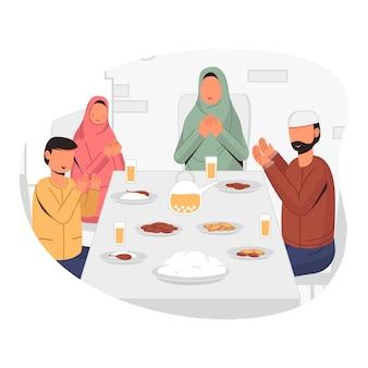 Famiglia musulmana iftar insieme, colazione insieme e lettura di preghiere insieme illustrazione concettuale del design