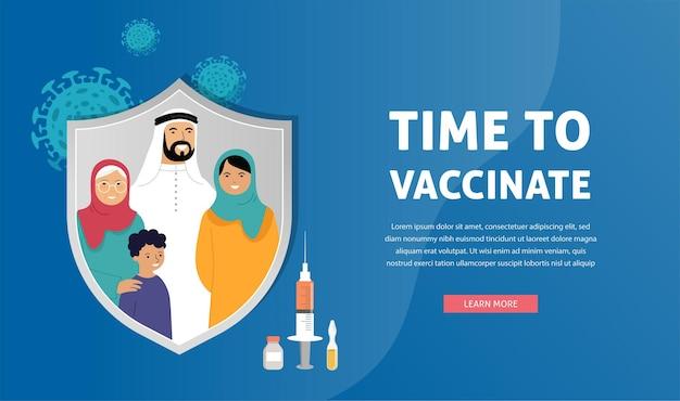 Tempo di progettazione del concetto di vaccinazione della famiglia musulmana per vaccinare la siringa per banner con il vaccino per l'influenza covid