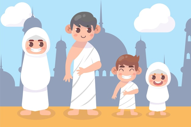 Famiglia musulmana che indossa ihram vettore premium